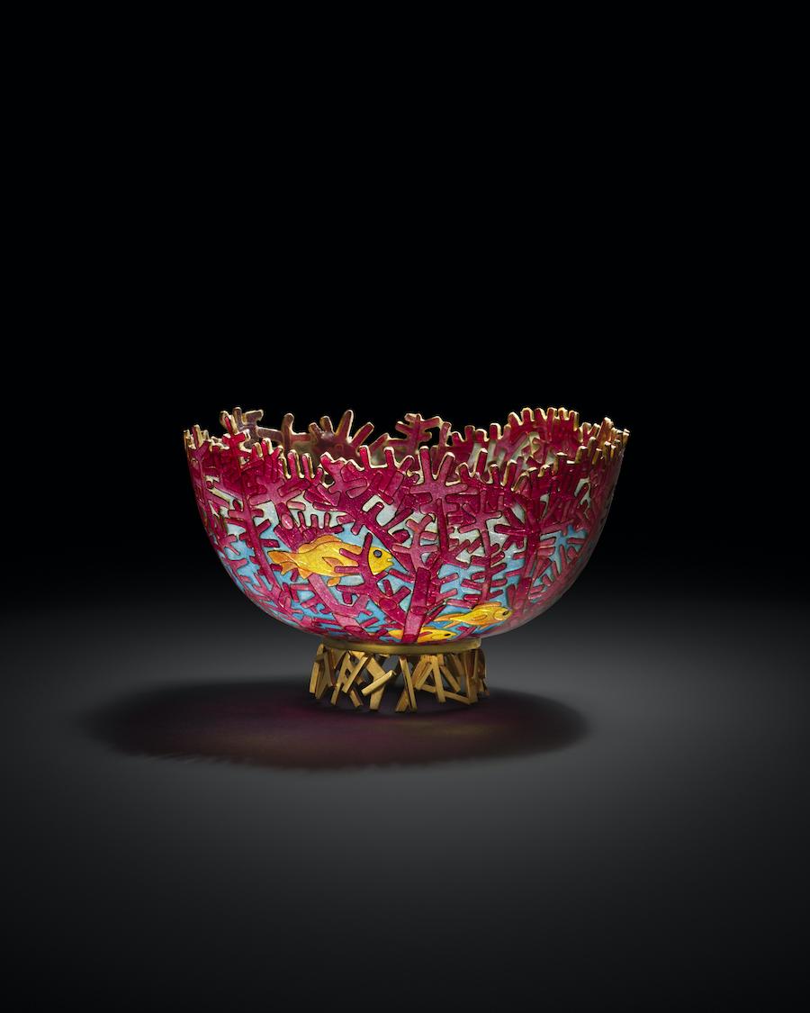 """""""Red Fan Coral"""" plique-a-jour bowl"""