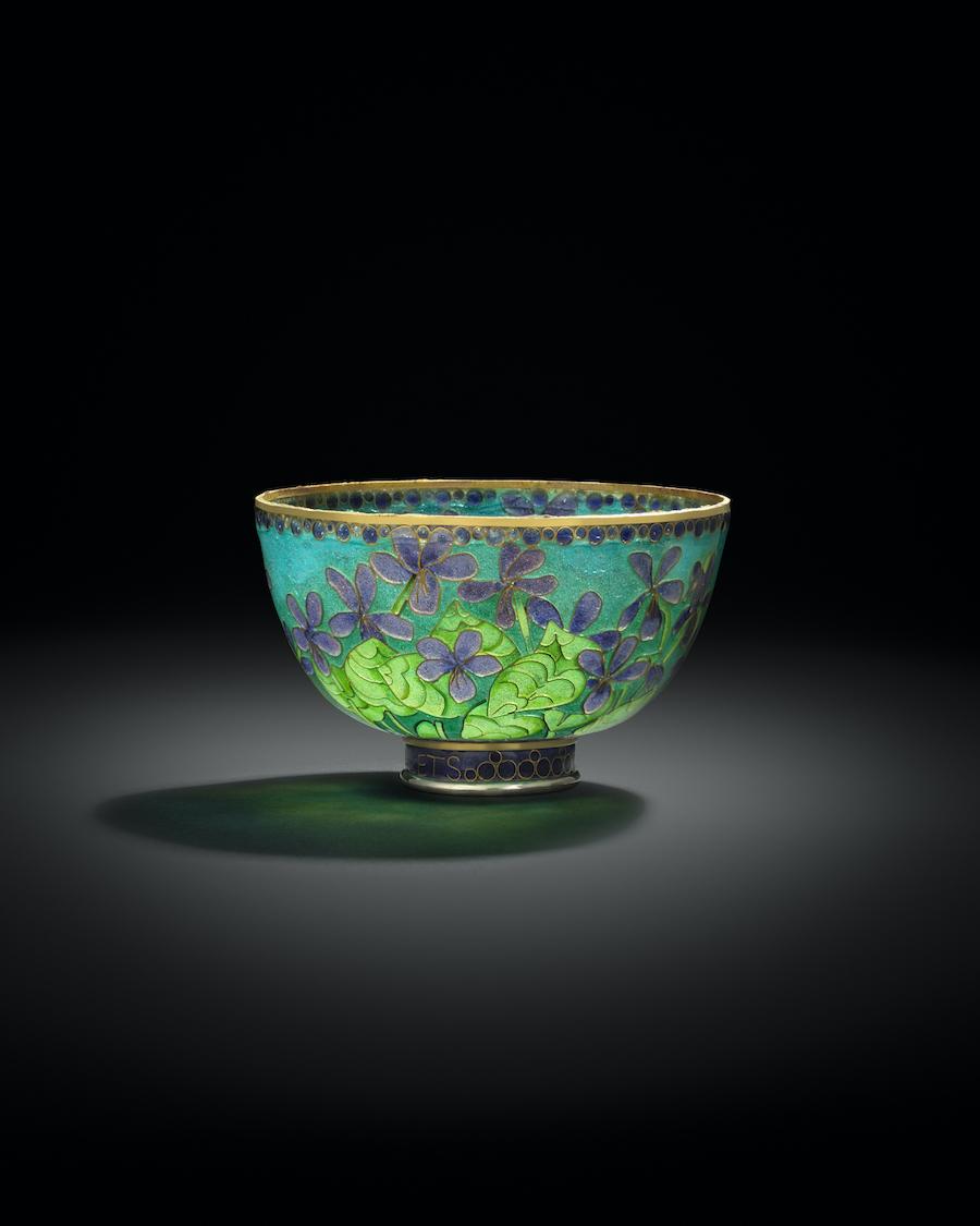 """""""Violets"""" plique-a-jour bowl"""
